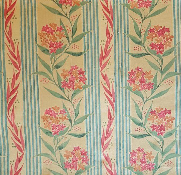 peach flowers blue strip beeswax wrap